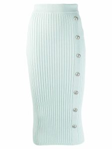 Balmain rib-knit fitted skirt - Green