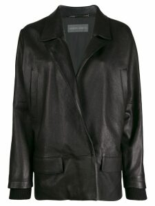 Alberta Ferretti oversized leather blazer - Black