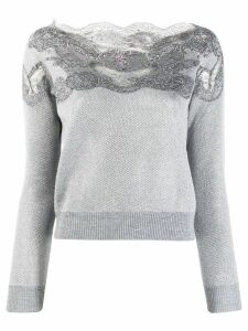 Ermanno Scervino lace embellished sweatshirt - Grey