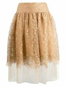 Ermanno Scervino high waisted lace skirt - Neutrals