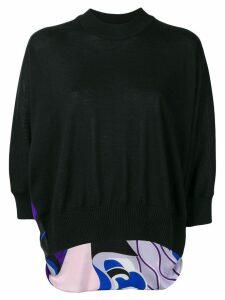 Emilio Pucci Hanami Print Panel Sweater - Black