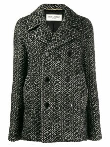 Saint Laurent double breasted knitted coat - Black