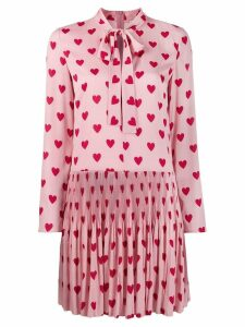 Red Valentino crepe de chine pleated dress - Pink