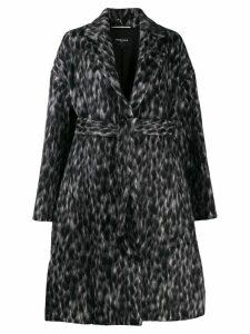 Rochas patterned midi coat - Black