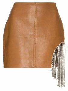 AREA crystal fringe-embellished mini skirt - Brown