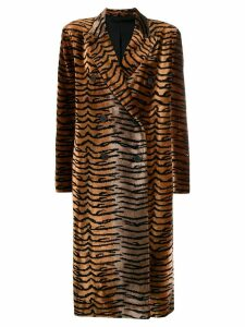 Attico tiger print double-breasted coat - Brown