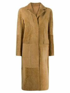 Sprung Frères single-breasted long coat - Neutrals