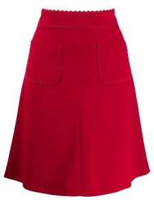 Red Valentino scalloped trim A-line skirt