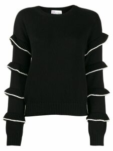 Red Valentino ruffled sleeve jumper - Black