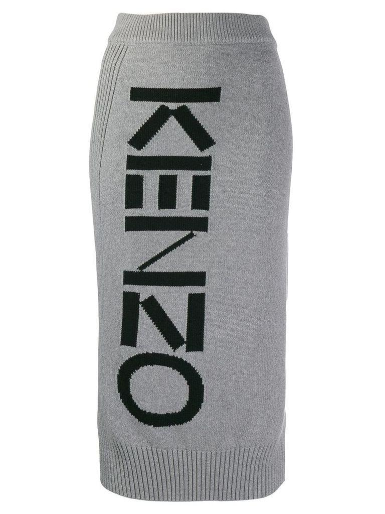 Kenzo intarsia logo skirt - Grey