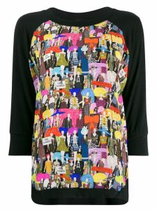 Ultràchic girl print jersey top - Black