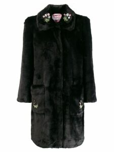 Vivetta embroidered faux-fur coat - Black