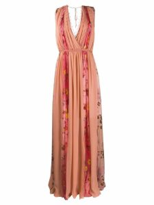 Blumarine floral-panelled gown - Pink