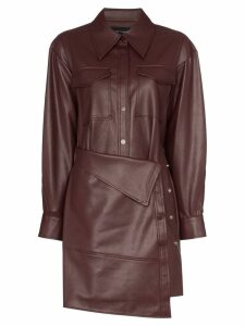 Low Classic faux leather apron-front shirt dress - Red