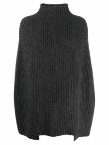 Pringle Of Scotland ribbed knit poncho-sweater - Grey