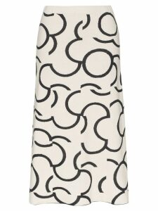 Low Classic intarsia-pattern midi skirt - White