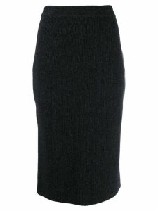 Pringle Of Scotland Ribbed Pencil Skirt - Black