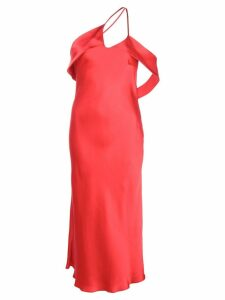 Michelle Mason draped-arm silk dress - Red