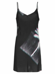 Double Rainbouu palm tree print slip dress - Black