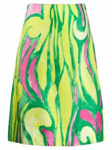 Marni abstract print silk skirt - Green