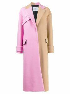 MSGM oversized two-tone coat - NEUTRALS