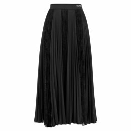 Valentino Black Lace-panelled Jersey Midi Skirt
