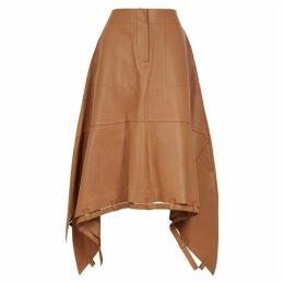 Loewe Brown Asymmetric Leather Midi Skirt