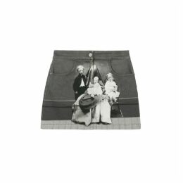 Burberry Victorian Portrait Print Stretch Denim Mini Skirt