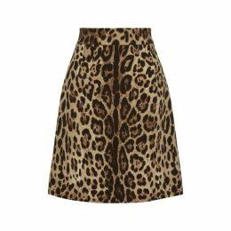 Dolce & Gabbana Leopard-print Wool Mini Skirt