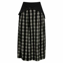 Crea Concept Black Checked Midi Skirt