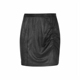 Free People Rumi Black Ruched Faux Suede Mini Skirt