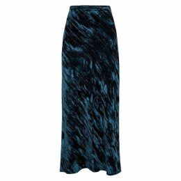 Collina Strada Yod Dark Teal Velvet Maxi Skirt