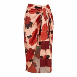 Mother Of Pearl Emma Floral-print Satin Midi Skirt