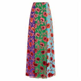 Alice + Olivia Aquinnah Floral-devoré Chiffon Maxi Skirt