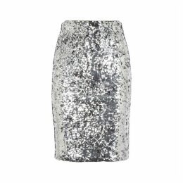 Alice + Olivia Ramos Silver Sequin Pencil Skirt