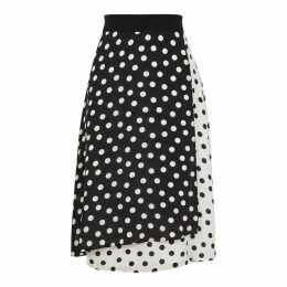 Alice + Olivia Nanette Monochrome Polka-dot Silk Skirt