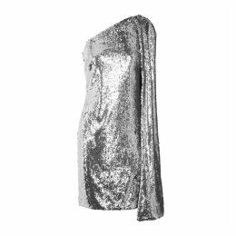 Stella McCartney Silver Cape-effect Sequin Mini Dress