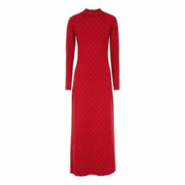 Stella McCartney Monogrammed Wool-blend Maxi Dress