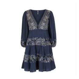 Free People My Love Navy Floral Gauze Mini Dress
