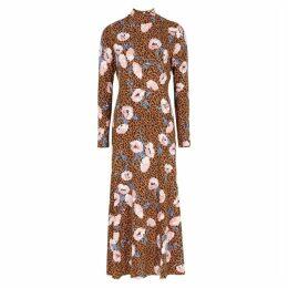 Free People Retro Romance Leopard-print Midi Dress