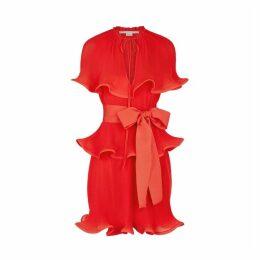 Stella McCartney Red Ruffled Plissé Mini Dress