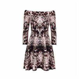 Alexander McQueen Crystal-jacquard Off-the-shoulder Mini Dress