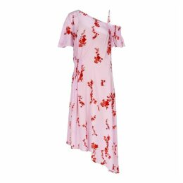 Preen Line Pink Floral Satin Midi Dress