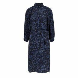 Cefinn Navy Leopard-print Silk Dress