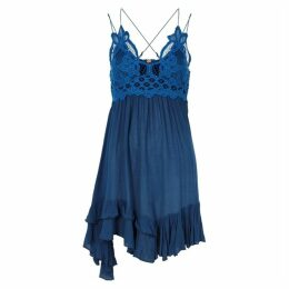 Free People Adella Lace-trimmed Gauze Mini Dress