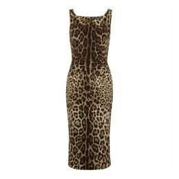 Dolce & Gabbana Leopard-print Stretch-silk Midi Dress