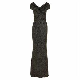 Talbot Runhof Stardust Glittered Off-the-shoulder Gown