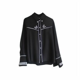 Florence Bridge Embroidered Cowboy Shirt (black)