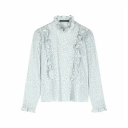 ALEXACHUNG Printed Ruffle-trimmed Cotton Blouse