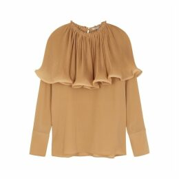 Stella McCartney Camel Ruffle-trimmed Crepe De Chine Blouse